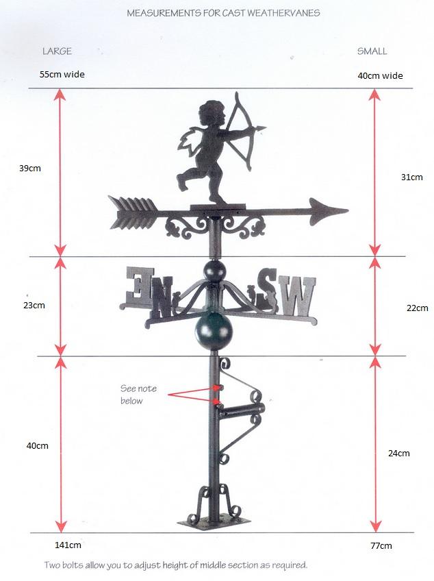Cast Iron Weathervane Dimensions