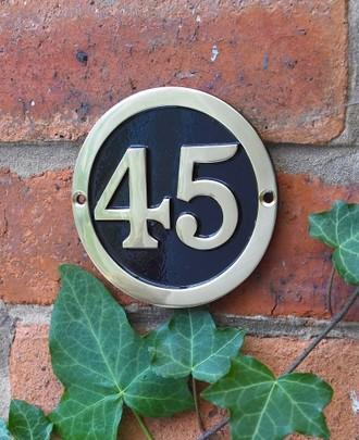 Round Black & Brass House Number