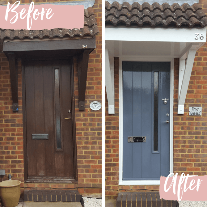 Home front door transformation featuring bee door knocker