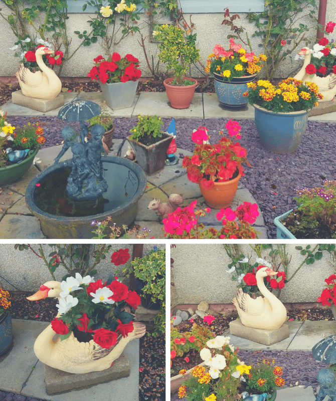 Swan-shaped garden planter