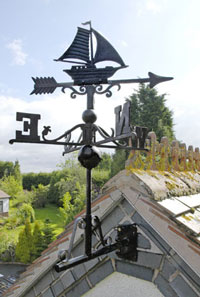 Weathervane black sailboat