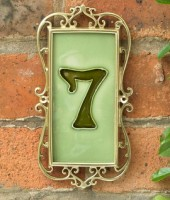 Iron & Brass Framed House Number Tiles