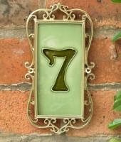 Iron & Brass Framed House Number Tiles