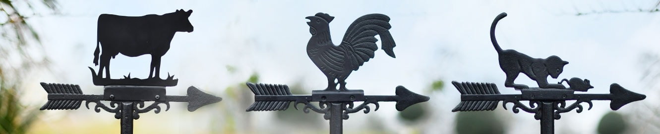 Black Country Metal Works Weathervane Contemporary Cockerel Cast Iron Standard