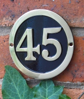 Brass Round House Number Signs