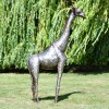 side View of the 4ft Recycled Metal Giraffe Sculpture