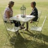"""Aunt Hilda"" Large Rectangular Cream Garden Table Set in Situ in the Garden"