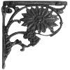 Sunflower Iron Shelf Bracket Finished in Black