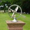 Traditional Silver Armillary Sundial on a Sand Stone Plinth