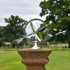 """Almwick Manor"" Solid Brass Armillary Sundial in Situ on a Stone Plinth"