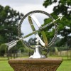 """Almwick Manor"" Solid Brass Armillary Sundial in Situ in the Garden"