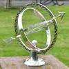 """Almwick Manor"" Solid Brass Armillary Sundial Finsished in an Antique Silver Finish"