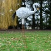 """Jabberwocky"" White Flamingo in Situ in the Garden"