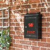 Black Wall Mounted Post Box with Red Dragon Motif