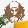 Peace Sign Alien Wall Art on a White Wall