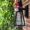 Angular Black Modern Porch Wall Lantern With Floral Background