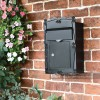 Black robust metal post box