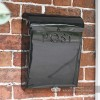 Black contemporary wall mounted post box