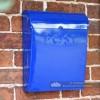 Sapphire blue wall mounted post box