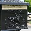 Cast Aluminium letter box with horse and jockey detail