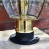 close up of rounded base on pillar lantern