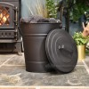 Black coal bucket in living room