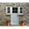 "Black ""Alessano"" Farmhouse Slim Sprung Espagnolette Lock Set in Situ on an Outside Door"