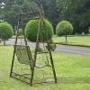 Black and gold finished garden metal swing seat