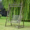 Black and gold painted swing seat for two people
