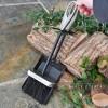 Black Brush and Pan Set with Pewter Loop Handles