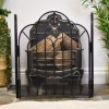 Black Arched Top Three Fold Fireguard