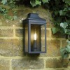 Black Traditional Flush Wall Light in Situ on a Wall