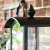 Black Victorian Curved Top Wall Lantern and Bracket Detailed Close Up