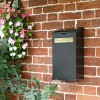 Black Wall Mounted Parcel Box On Brick Wall