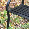 """Close-up of the Black Finish on the """"You'll Never Walk Alone"""" Liver Bird Bench"""