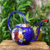 Blue Narrowboat Watering Can with Floral Design