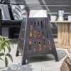 Contemporary Fire Basket Burning Wood