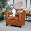 Brown Leather Traditional Arm Chair in Situ in the Living Room