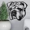 Metal Bulldog Wall Art on a Grey Wall