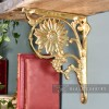 Polished brass sunflower shelf bracket