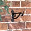 Black Scroll Iron Hanging Basket Bracket in Situ