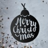 Christmas Bauble Steel Wall Art in Situ on a Rustic Wall