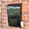"""""""Cityscape"""" Black Contemporary Post Box With Lock and Newspaper Holder in Situ"""
