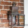 Contemporary Antique Copper Square Wall Lantern With Open Front Door