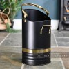 Black Contemporary Coal Hod with Brass Handles and Rim