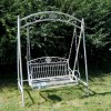 Traditional French Scrolled Swing Seat Finished in Cream