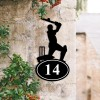 Cricket Player Iron House Number Sign Created Out of Iron