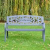 Family Name Iron Bench in Situ in the Garden