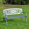 Black Personalised Bench in the Garden