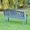 View of the Back of the Family Name Iron Bench